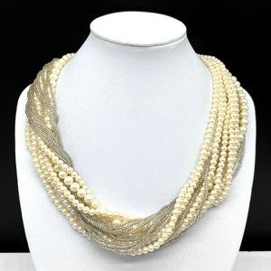 Vintage Designer MONET Faux Pearl Beaded Necklace